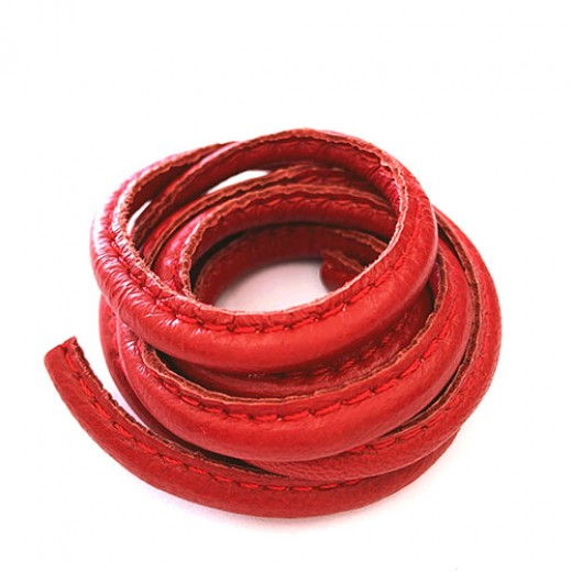 5 x 10mm Nappa Leather, Dark Red, 1 Metre