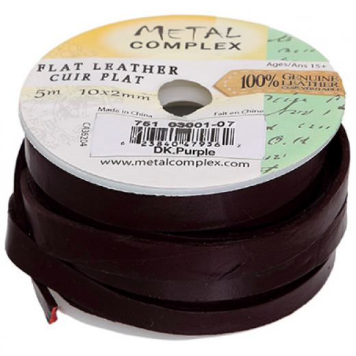 Dark Purple 10x2mm Leather, 3 Metre Reel