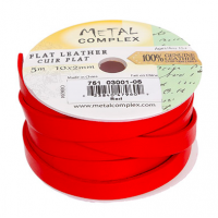 Red 10x2mm Leather, 3 Metre Reel