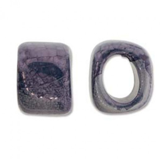 Silver Ore Ceramic Spacer bead for Regaliz Leather, 15mm wide