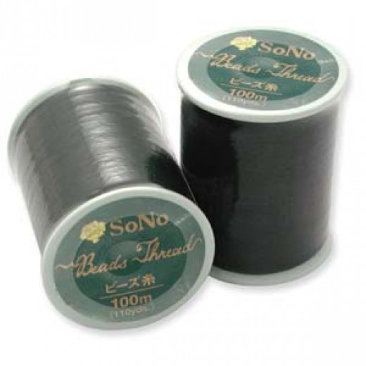 Black SoNo Beading Thread, 100m reel