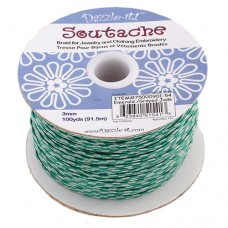 3mm Soutache Emeral/ Grey Jade,91.5m Spool