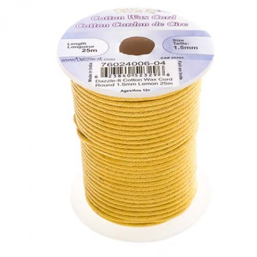 1.5mm Waxed Cotton Cord, Lemon - 25m Spool