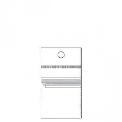 """2"""" x  2"""" Clear Poly Hanging Bag, resealable with rebated top entry and white header, pack of 100"""