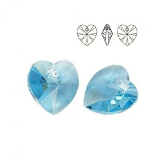 Swarovski Heart Pendant - Aquamarine 14.4 x 14mm