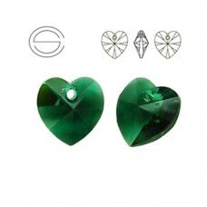 Swarovski Heart Pendant - Emerald 14.4 x 14mm