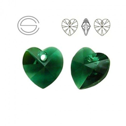 Swarovski Heart Pendant - Emerald 14.4 x 14mm