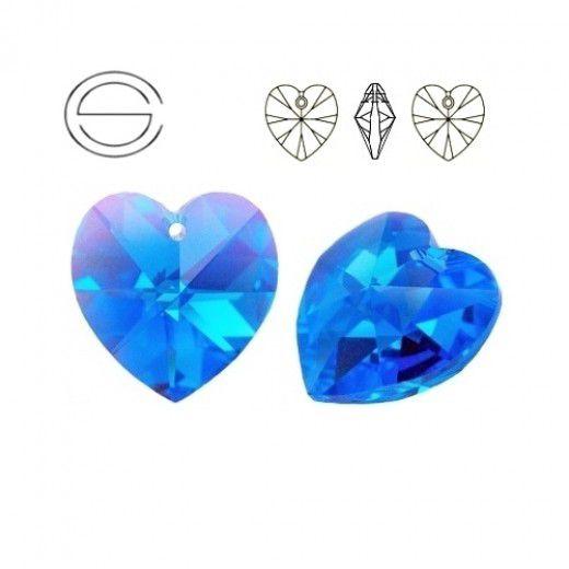 Swarovski Heart Pendant - Sapphire 14.4 x 14mm