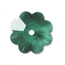 6mm Swarovski Flower shaped spacer beads in emerald green, Pack of 6 Pcs