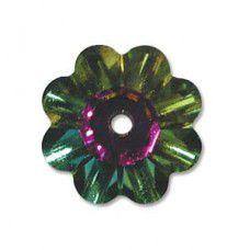 6mm Swarovski Flower shaped spacer bead in vitrail finish, Pack of 6 pcs.