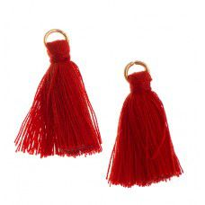 Red 25mm Poly Cotton Tassels (10pcs)