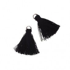 Black 25mm Cotton Tassels (4pcs)