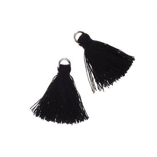 Black 25mm Cotton Tassels (4pcs)