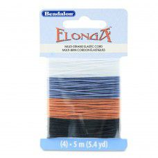 Black,grey,brown and clear Elonga Elastic Beading Thread mix.  0.7mm, 5m of each...