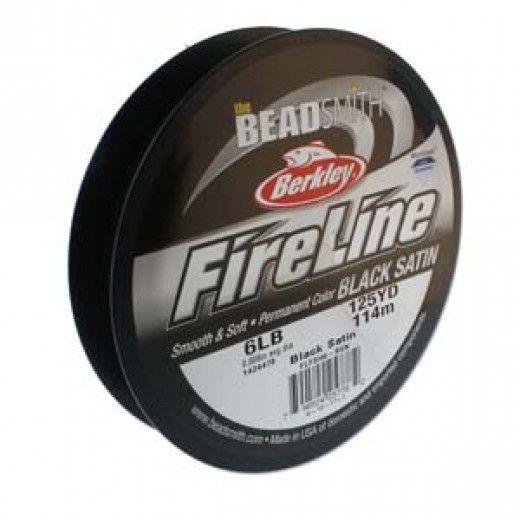 Black Satin Fireline Thread, 6lb, large 125yd spool, 0.006 in. diameter