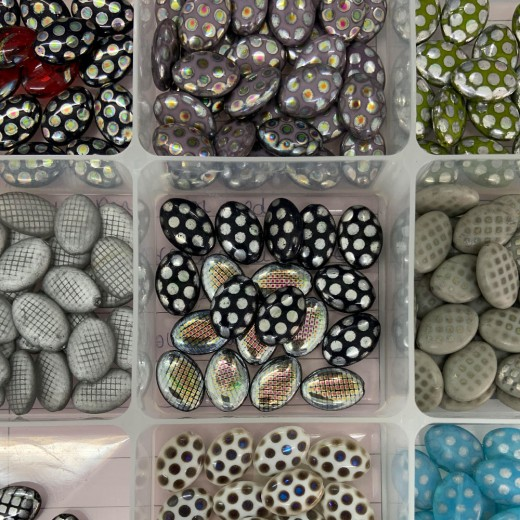 Oval Peacock Beads, Wholesale Pack of 100 Beads