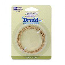 10 Gauge (2.6 mm), Round Braid, Tarnish Resistant Brass, 2.5 ft (.76 m)