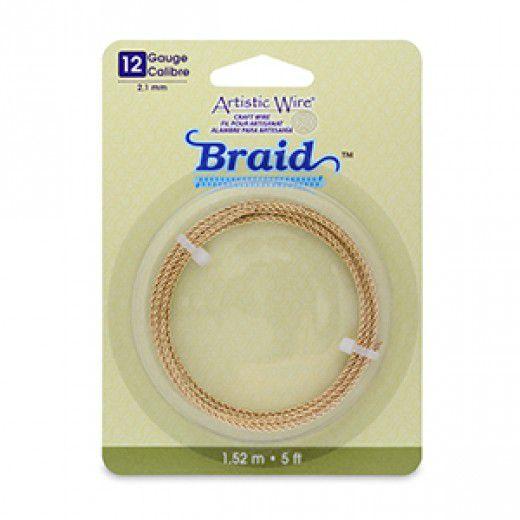 12 Gauge (2.1 mm), Round Braid, Tarnish Resistant Brass, 5 ft (1.5 m)