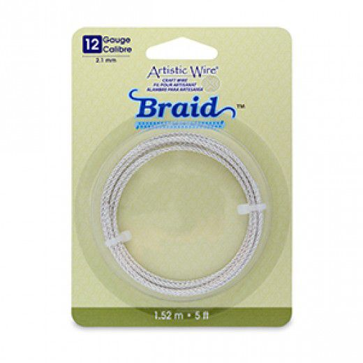 12 Gauge (2.1 mm), Round Braid, Tarnish Resistant Silver, 5 ft (1.5 m)