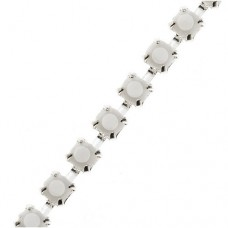 Crystal on Silver Plated cup chain, SS18 (4.2mm approx), 1m length, from Precios...